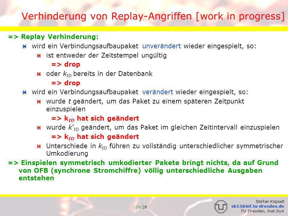 Verhinderung von Replay-Angriffen [work in progress]